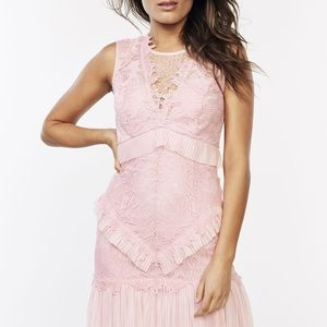 BARDOT Dress Francesca BAU7N Round Neckline Sleeveless Pink Lady Lace NWT 8 M